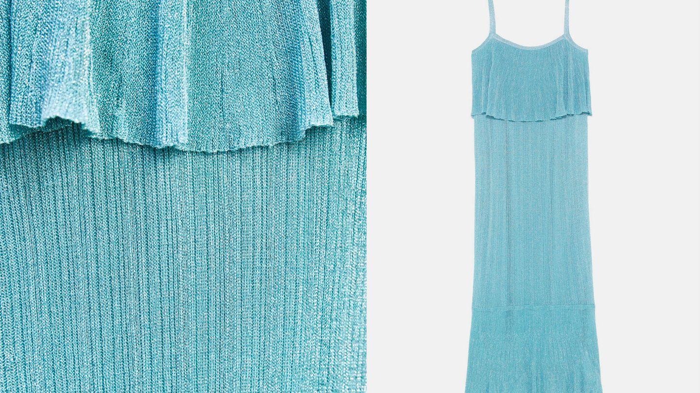 Detalle de la tela y silueta del vestido de Zara. (Cortesía)