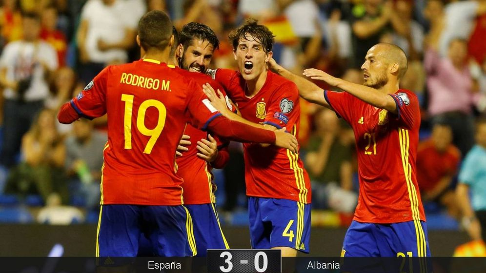 Foto: España celebra el primer gol. (Reuters)