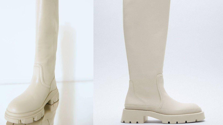 Botas blancas de Zara. (Cortesía)
