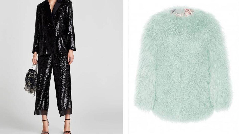 Traje de chaqueta de Zara y abrigo de Cyrana Furs.