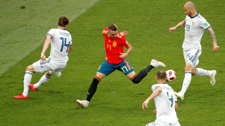 Aspas, durante el Rusia-España del Mundial de 2018. (Reuters)