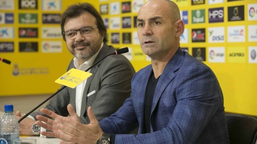 Foto: Paco Jémez, durante su presentación como nuevo entrenador de Las Palmas. (FOTO: udlaspalmas.es)