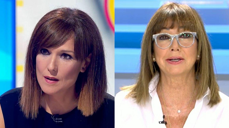 Mónica López y Ana Rosa Quintana, con sus respectivos looks de estreno. (TVE / Telecinco)