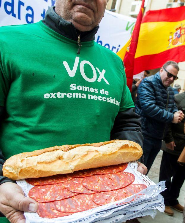 Foto: Un militante de VOX protesta ante la Audiencia de Sevilla por el juicio de los ERE. (EFE)