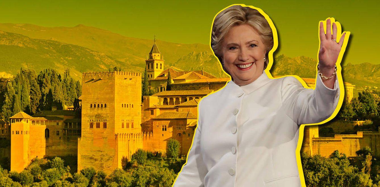 Foto: Hillary Clinton en Granada (Fotomontaje de Vanitatis)