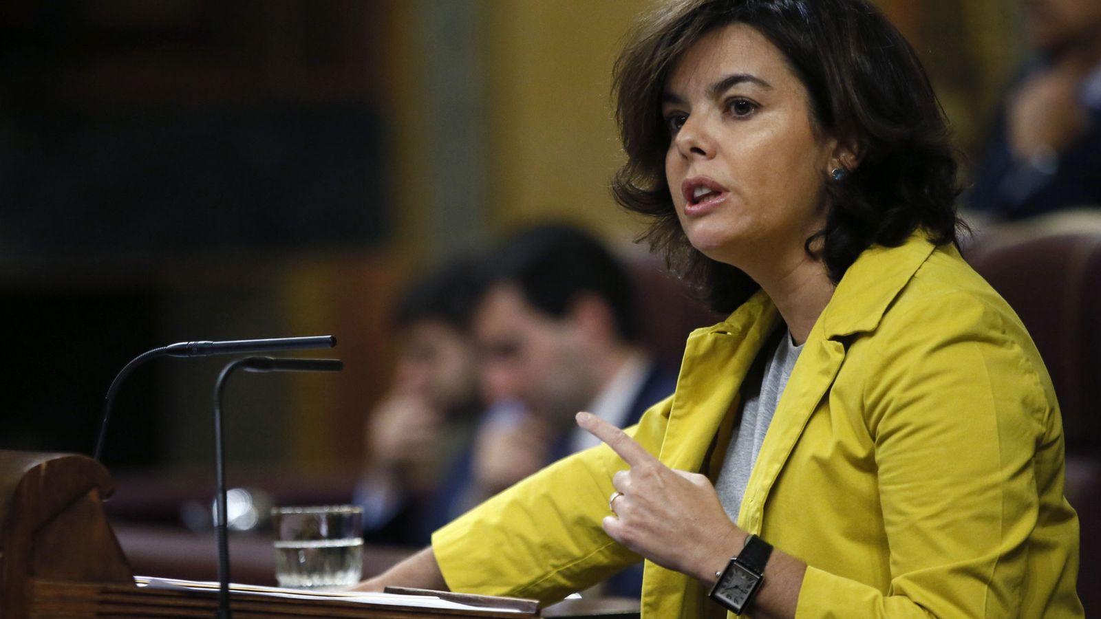 Foto: Soraya Sáenz de Santamaría, durante su intervención en el pleno del Congreso en defensa del CETA, este 29 de junio. (EFE)