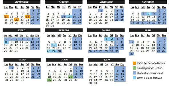 Calendario Escolar Huelva.Calendario Calendario Escolar Del Curso 2017 2018 Festivos Y