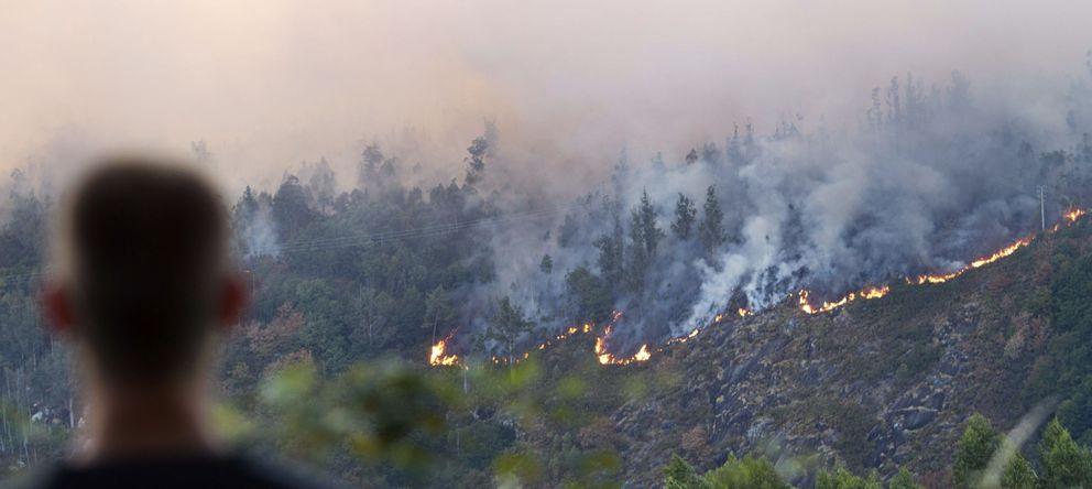 Foto: Incendio forestal en Negreira, A Coruña (EFE)