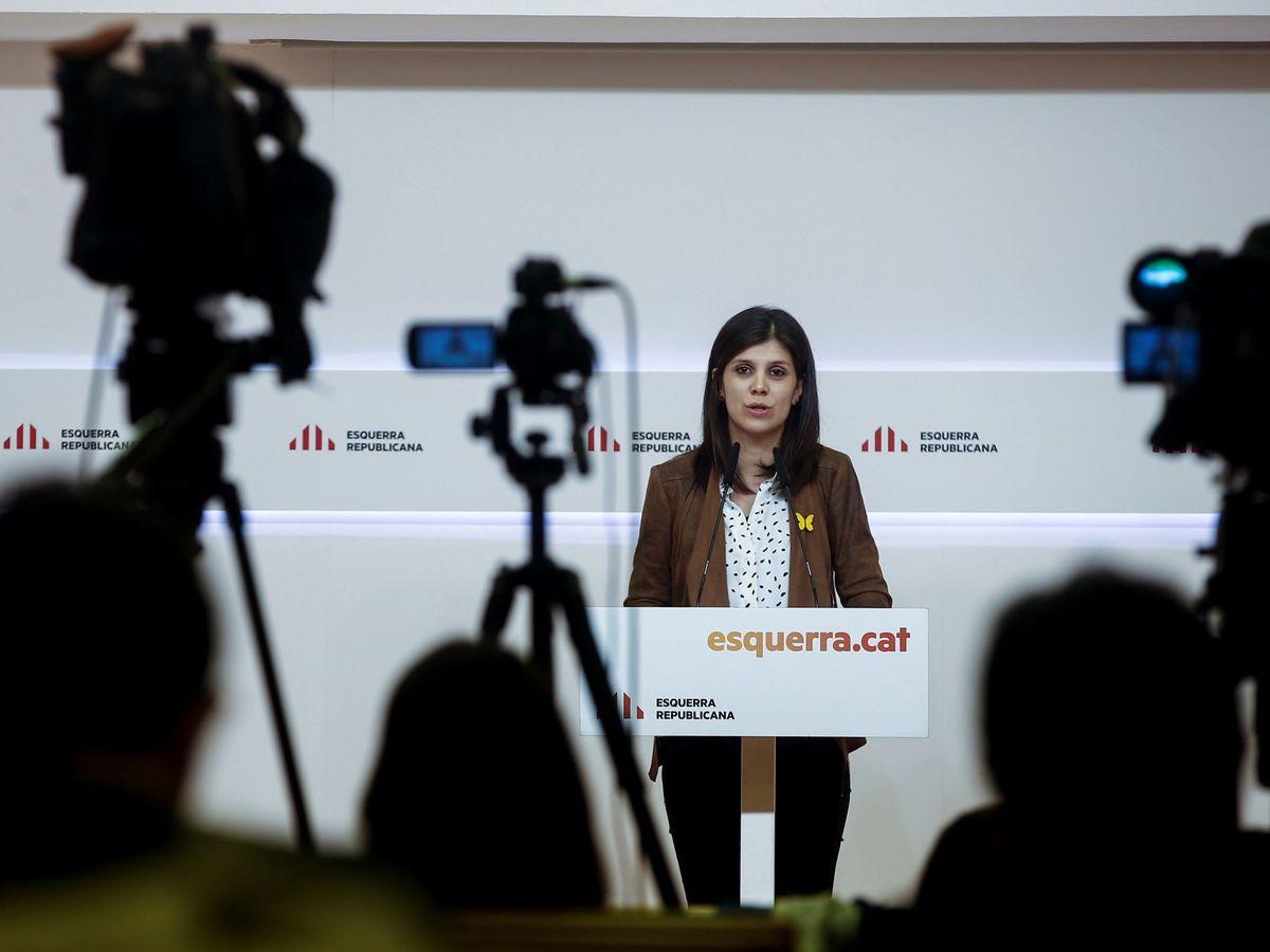 Foto: La portavoz de ERC, Marta Vilalta, en una rueda de prensa. (EFE)