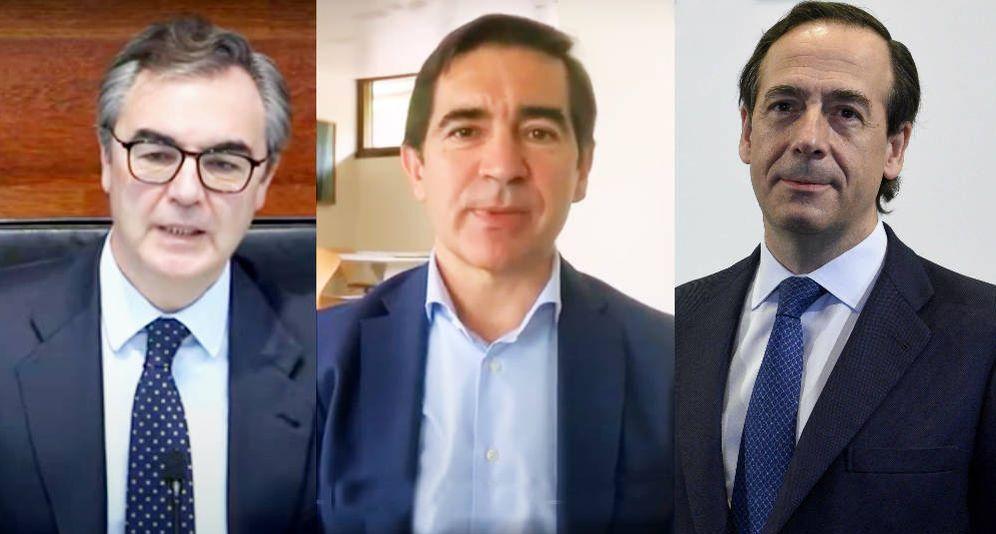 Foto: De izquierda a derecha, José Sevilla (Bankia), Carlos Torres (BBVA) y Gonzalo Gortázar (Caixabank).