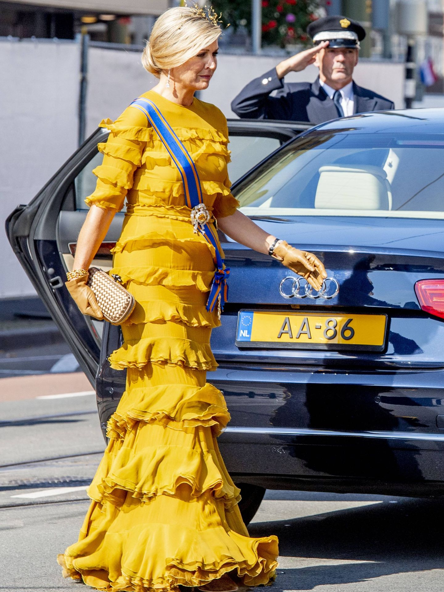 La reina Máxima, con vestido de volantes. (CP)