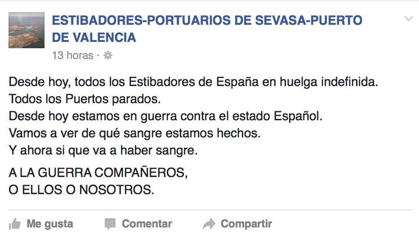 Soflamas en un muro de Facebook no oficial de estibadores de Valencia.