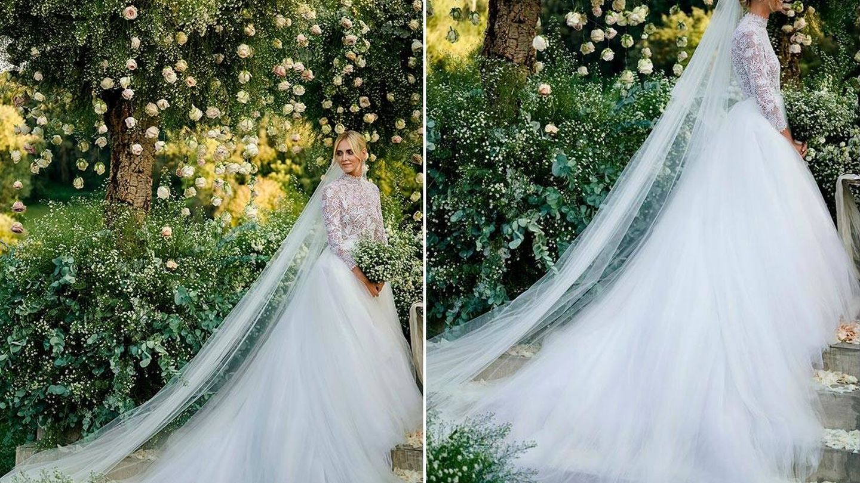 La novia en uno de los espectaculares jardines de Dimora delle Balze. (Imagen: David Bastianoni/Cortesía de Dior)