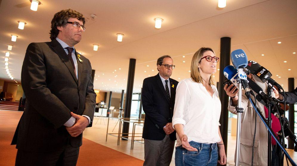 Foto: Puigdemont, Torra y Artadi tras la reunión mantenida en un hotel de Berlín en junio. (EFE)