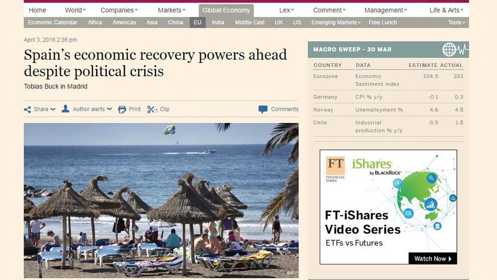 'Financial Times' destaca la recuperación de la economía española