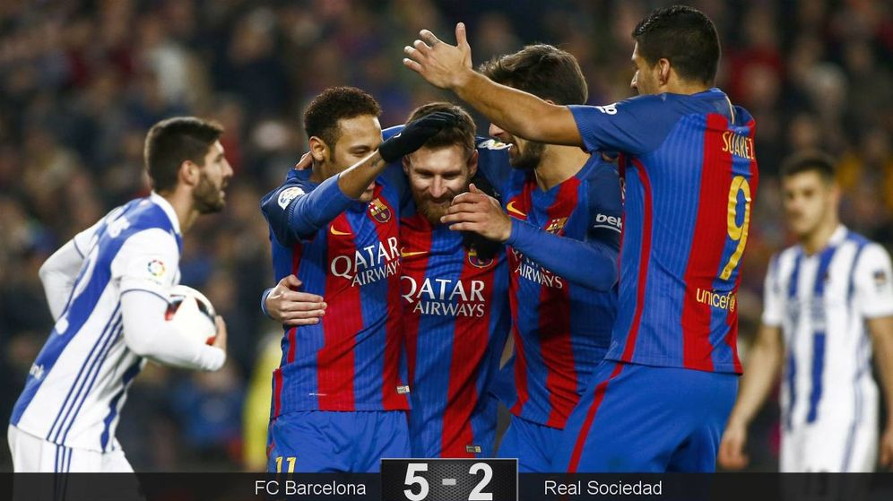 Foto: Los jugadores del Barça celebran el gol de Messi de penalti. (EFE)