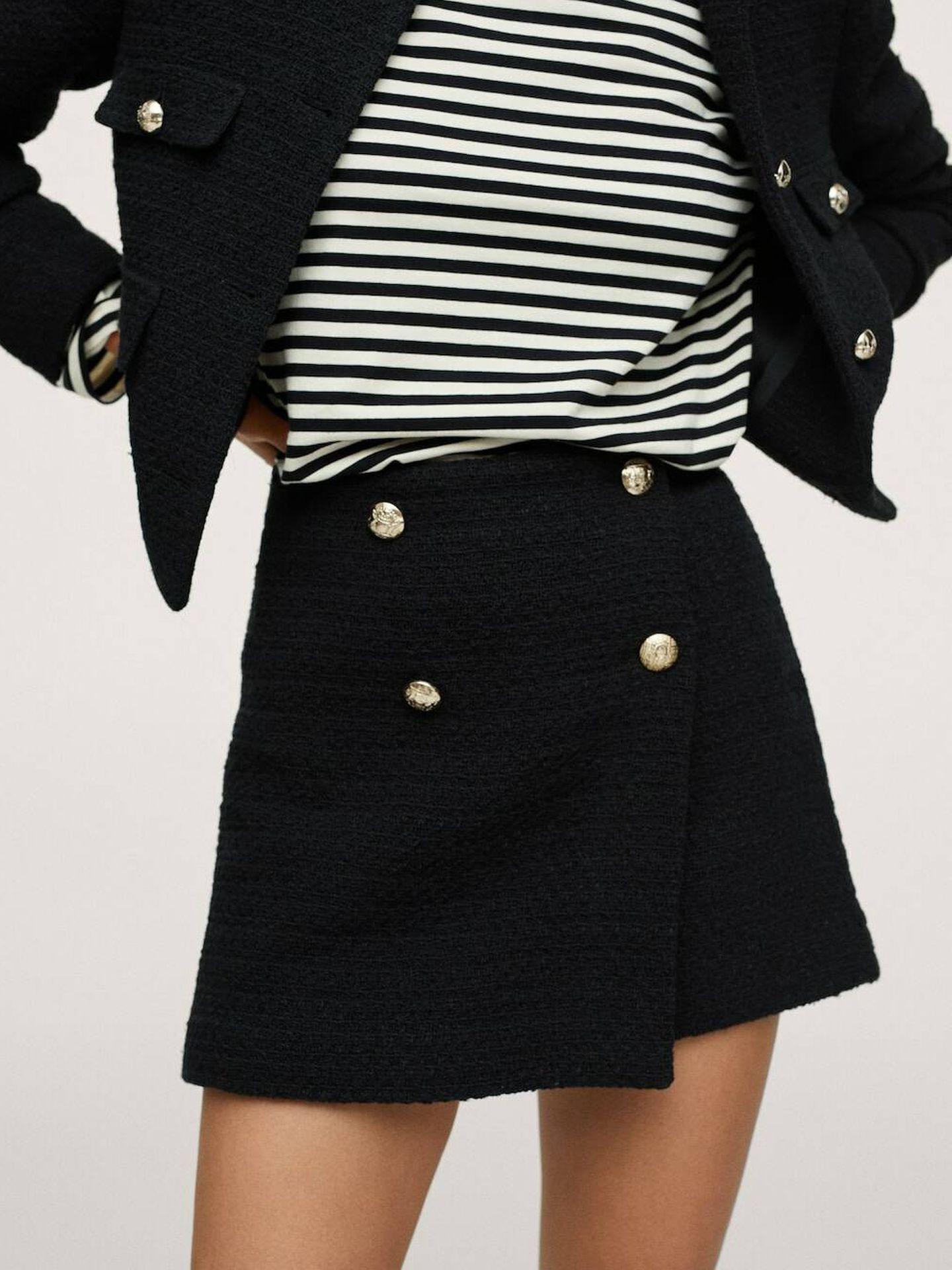 Minifalda de tweed de Mango. (Cortesía)