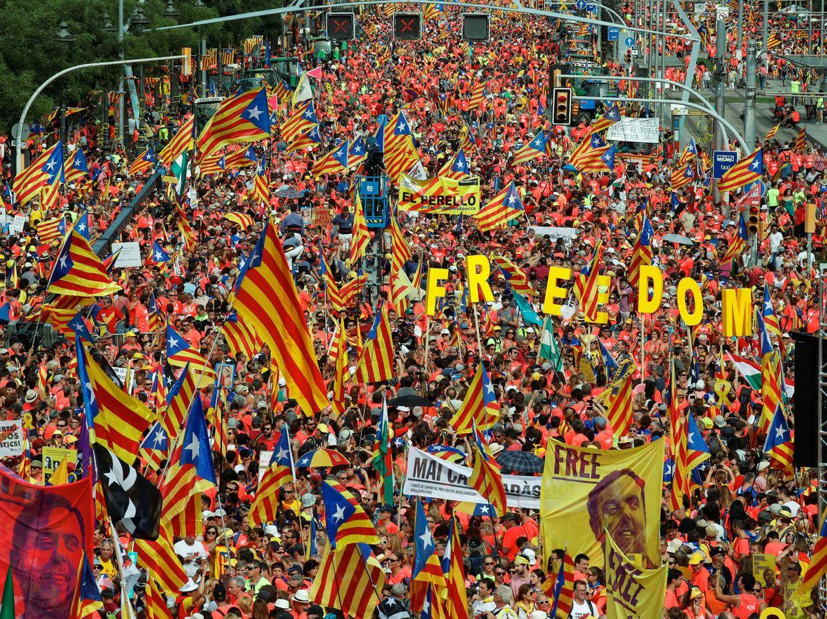 Foto: Manifestación en la Diada de Cataluña en 2018. (Reuters)