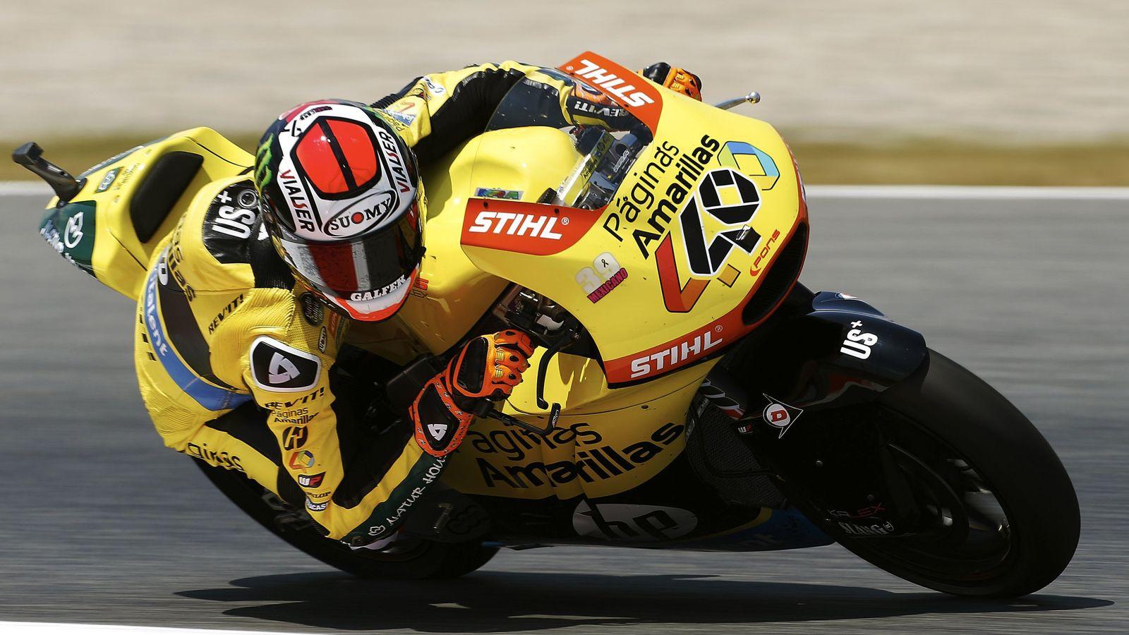 Foto: El piloto español Alex Rins (Páginas Amarillas HP 40), durante la prueba de Moto2 del Gran Premio de Cataluña. (EFE)