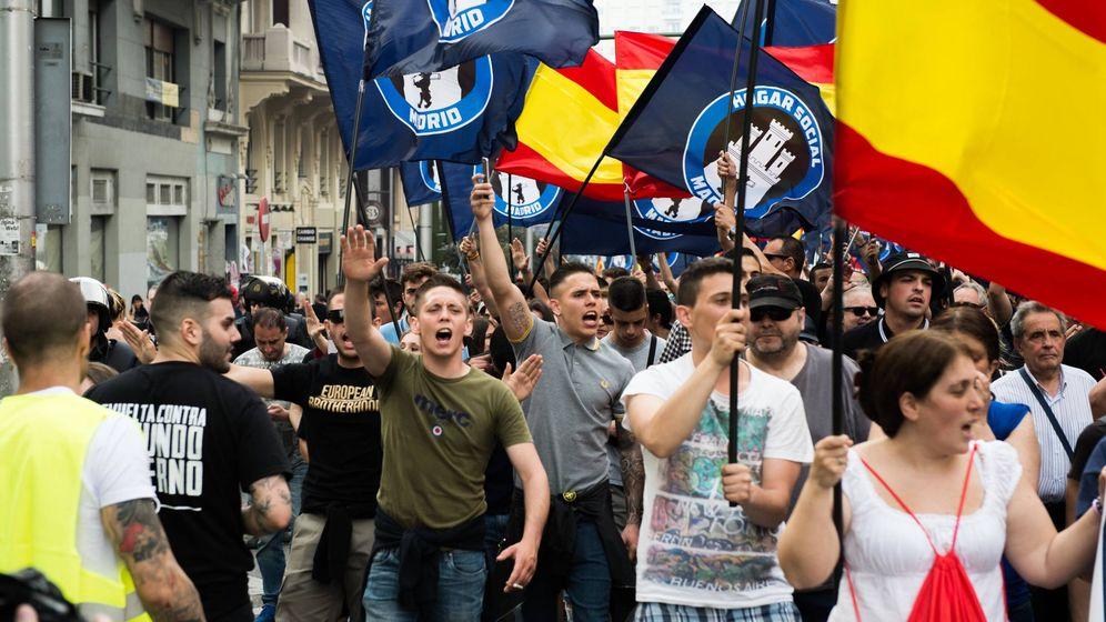 Foto: Manifestación del grupo neonazi Hogar Social en Madrid. (Daniel Muñoz)