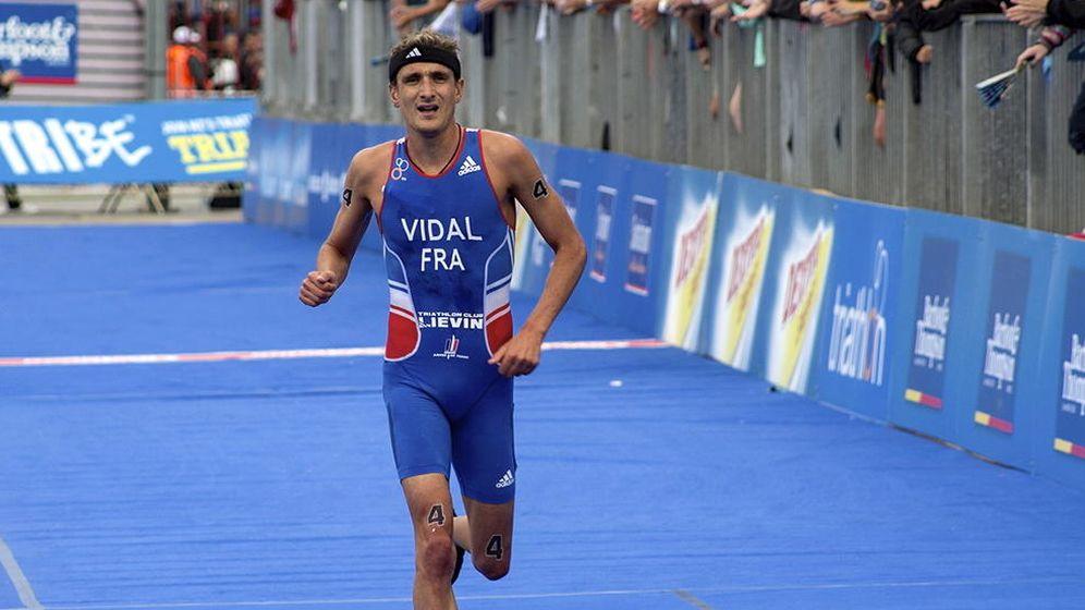 Foto: Laurent Vidal, durante una competición de triatlón.