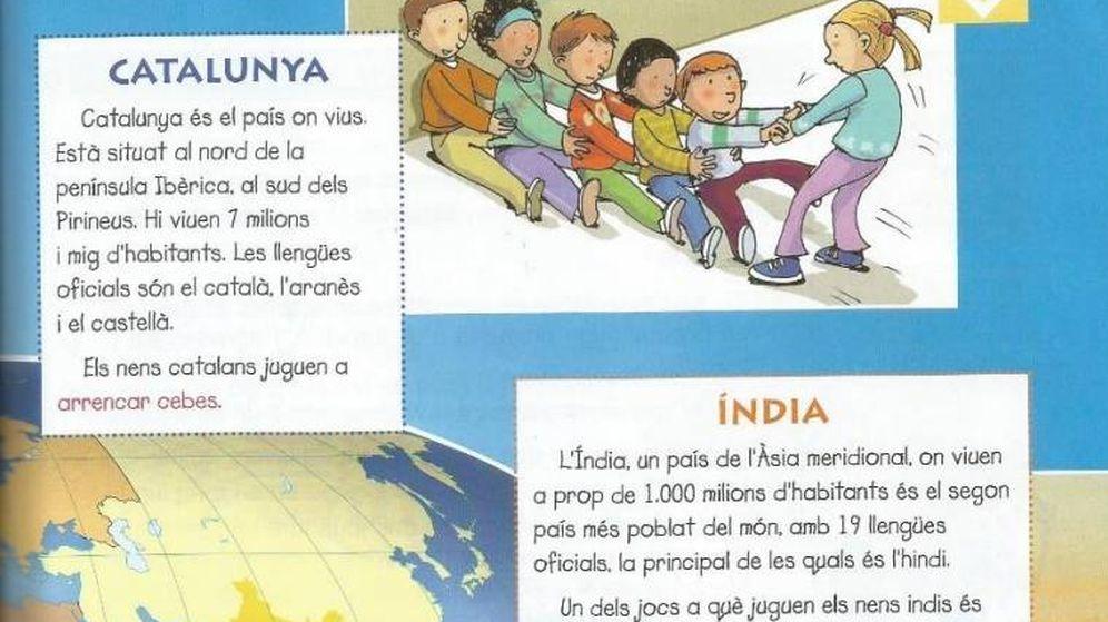 Foto: Cataluña, igualada a otros países como India en este libro de Lengua y Literatura la editorial Vicens Vives. (AEB y SCC)