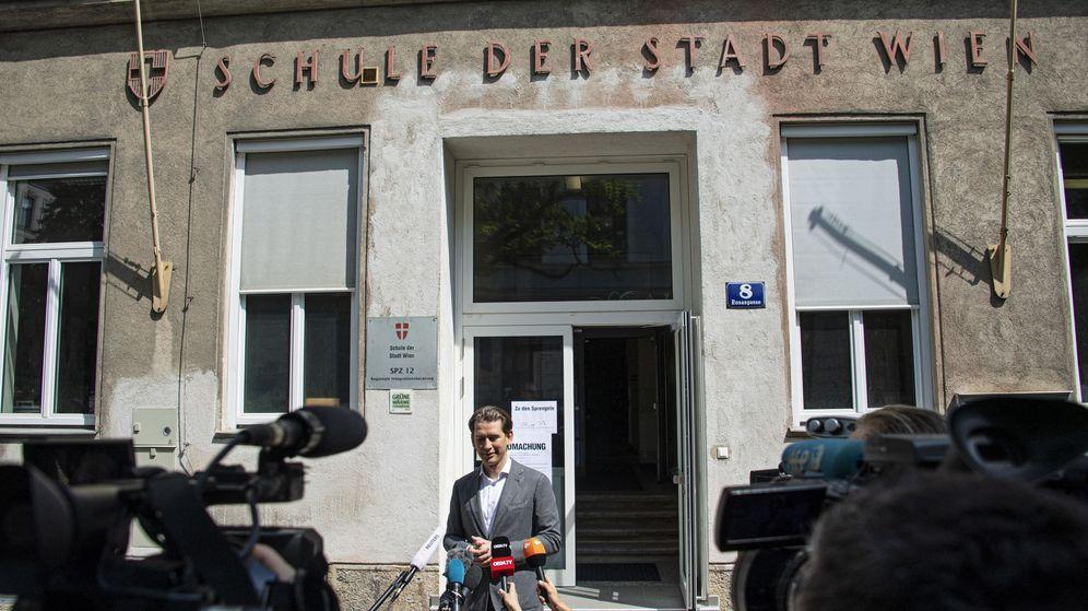 Foto: Sebastian Kurz, durante las elecciones europeas (Reuters)