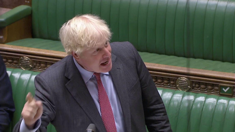 El primer ministro británico, Boris Johnson, en el Parlamento. (Reuters)