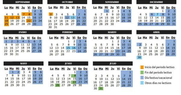 Calendario Escolar 2019 Madrid.Calendario Calendario Escolar Del Curso 2017 2018 Festivos Y