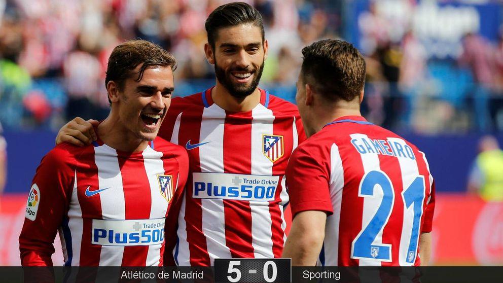 Dos zarpazos en cinco minutos le valen al Atlético para tener su partido soñado
