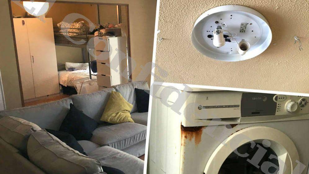 Foto: Cuatro camas en el salón-comedor, electrodomésticos herrumbrosos y paneles de luz sin bombilla en el piso gratis para becarios de Aponiente.