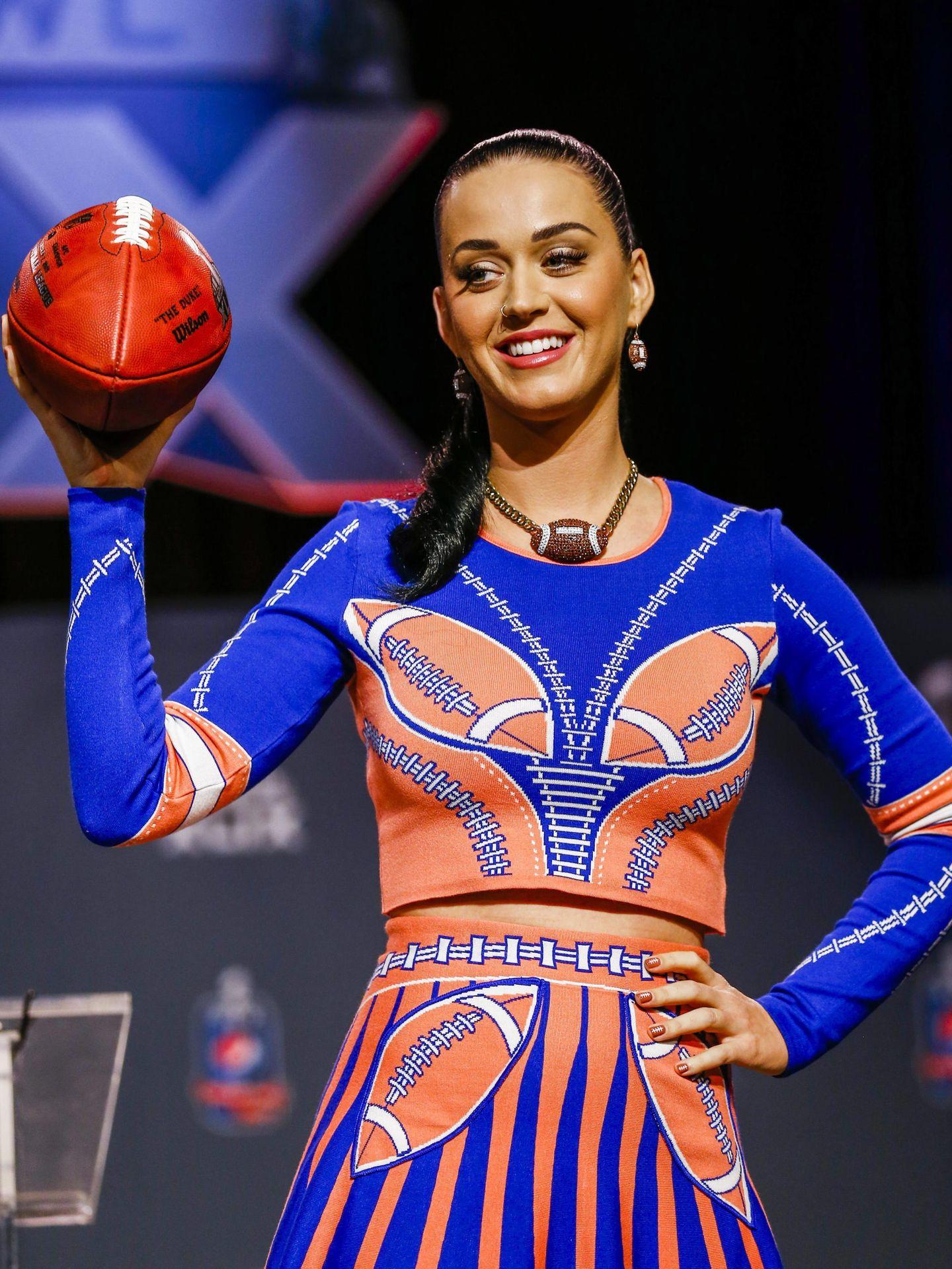 Katy Perry, en una conferencia de prensa de la Super Bowl en 2015. (EFE)