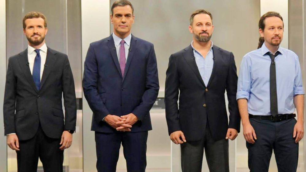 Foto: Pablo Casado, Pedro Sánchez, Santiago Abascal y Pablo Iglesias, en el debate de RTVE. (EFE)