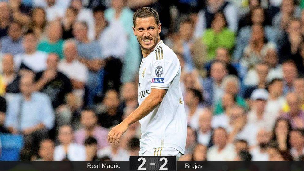 Un Hazard de fogueo y un Real Madrid que roza la tragedia ante el Brujas