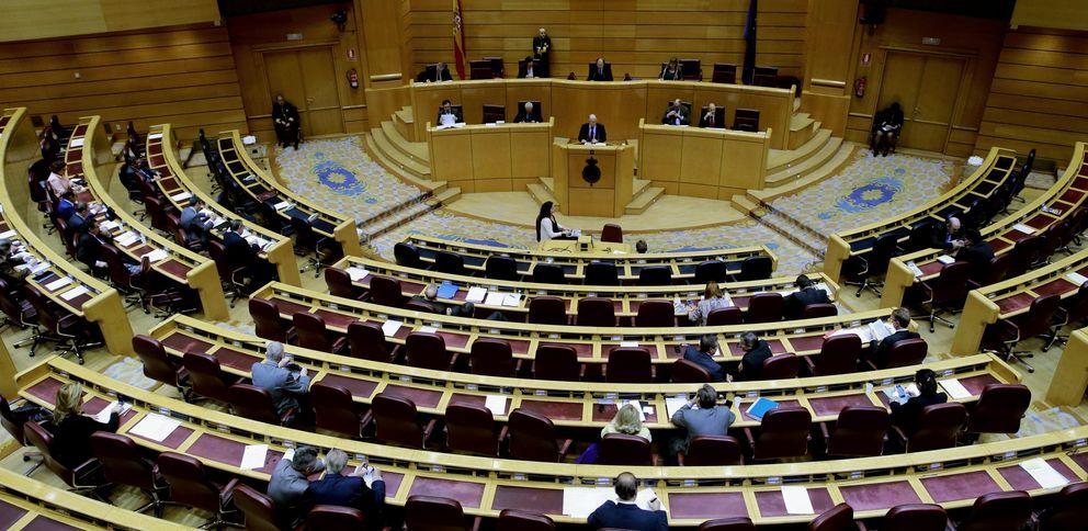 Foto: El pleno del Senado en la jornada de hoy, prácticamente vacío (Efe)