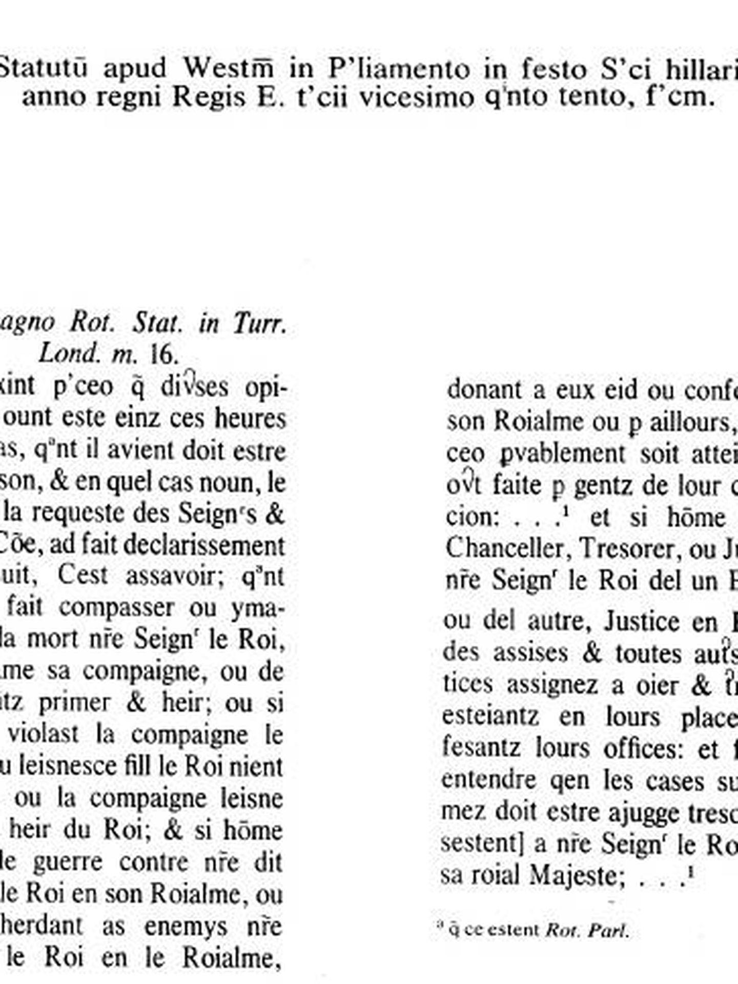 El estatuto original, en francés normando.