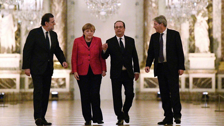 Foto: Mariano Rajoy, Angela Merkel, François Hollande y Paolo Gentiloni durante una reunión antes de la Cumbre de Versalles, el pasado 6 de marzo de 2017. (Reuters)