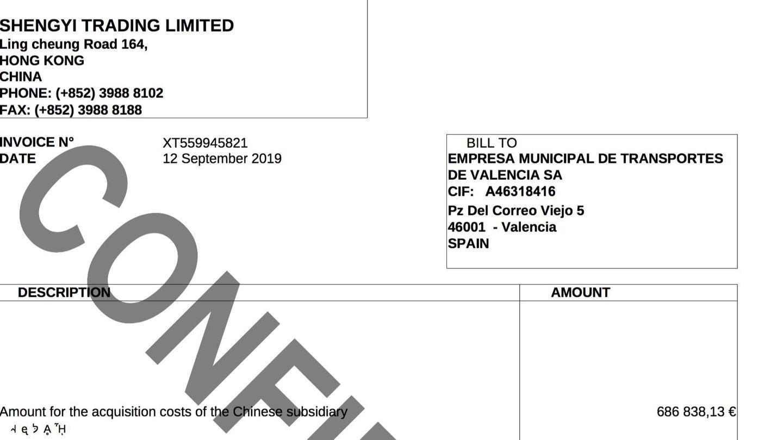 Una de las facturas emitidas a la EMT de Valencia por los estafadores a nombre de la sociedad de Hong Kong Shengyi Trading Limited.