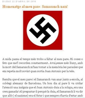 "Un dirigente del PSC califica a Juan Antonio Samaranch de ""nazi oportunista"""