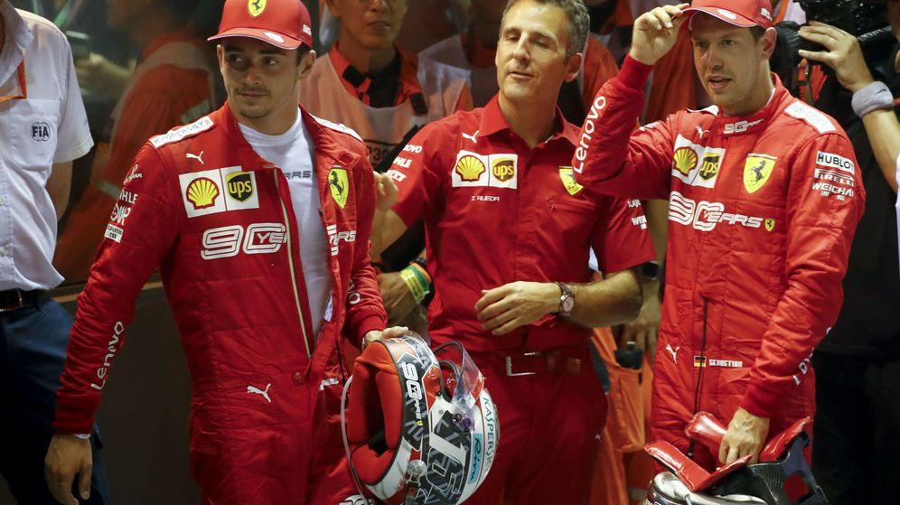 Foto: La estrategia favoreció a un Vettel que lideró el doblete de Ferrari en Singapur. (EFE)
