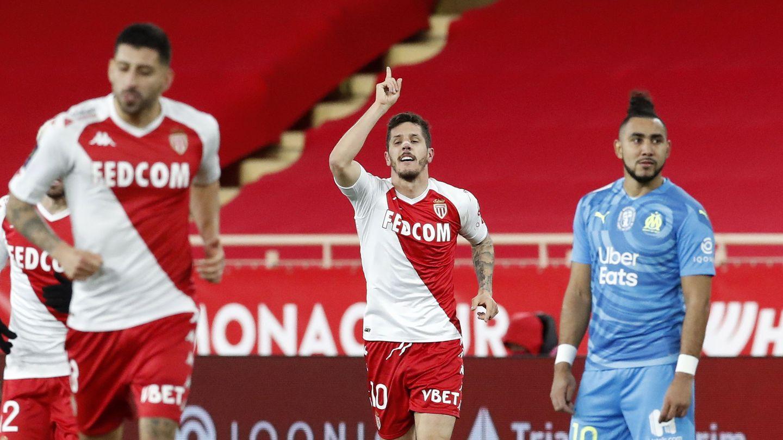 Stevan Jovetic celebra un gol en el último partido de Liga contra los marselleses. (Efe)