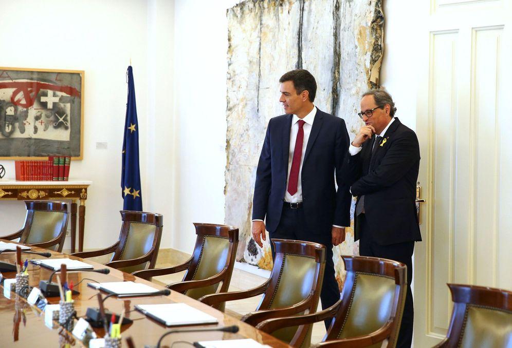 Foto: Pedro Sánchez y Quim Torra, el 9 de julio de 2018 en la Moncloa. (EFE)