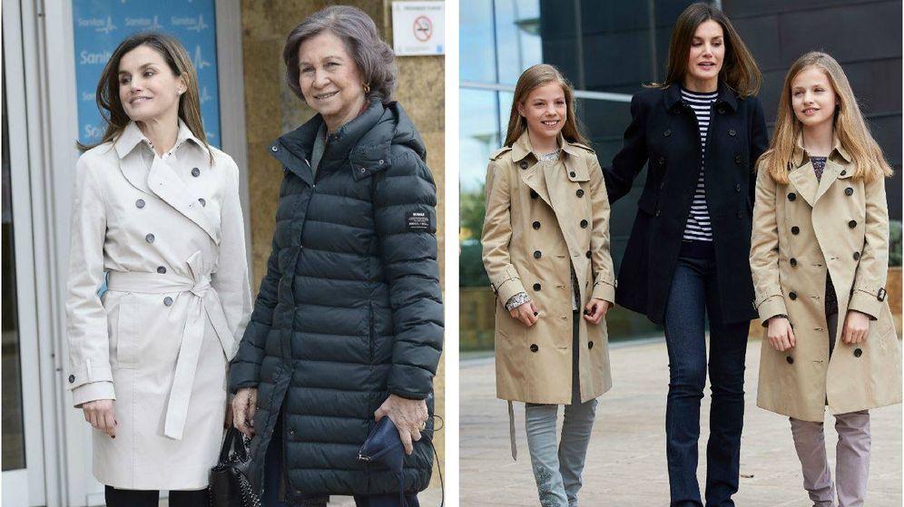 Foto:  Letizia y sus hijas, con un look muy similar. (Limited Pictures)