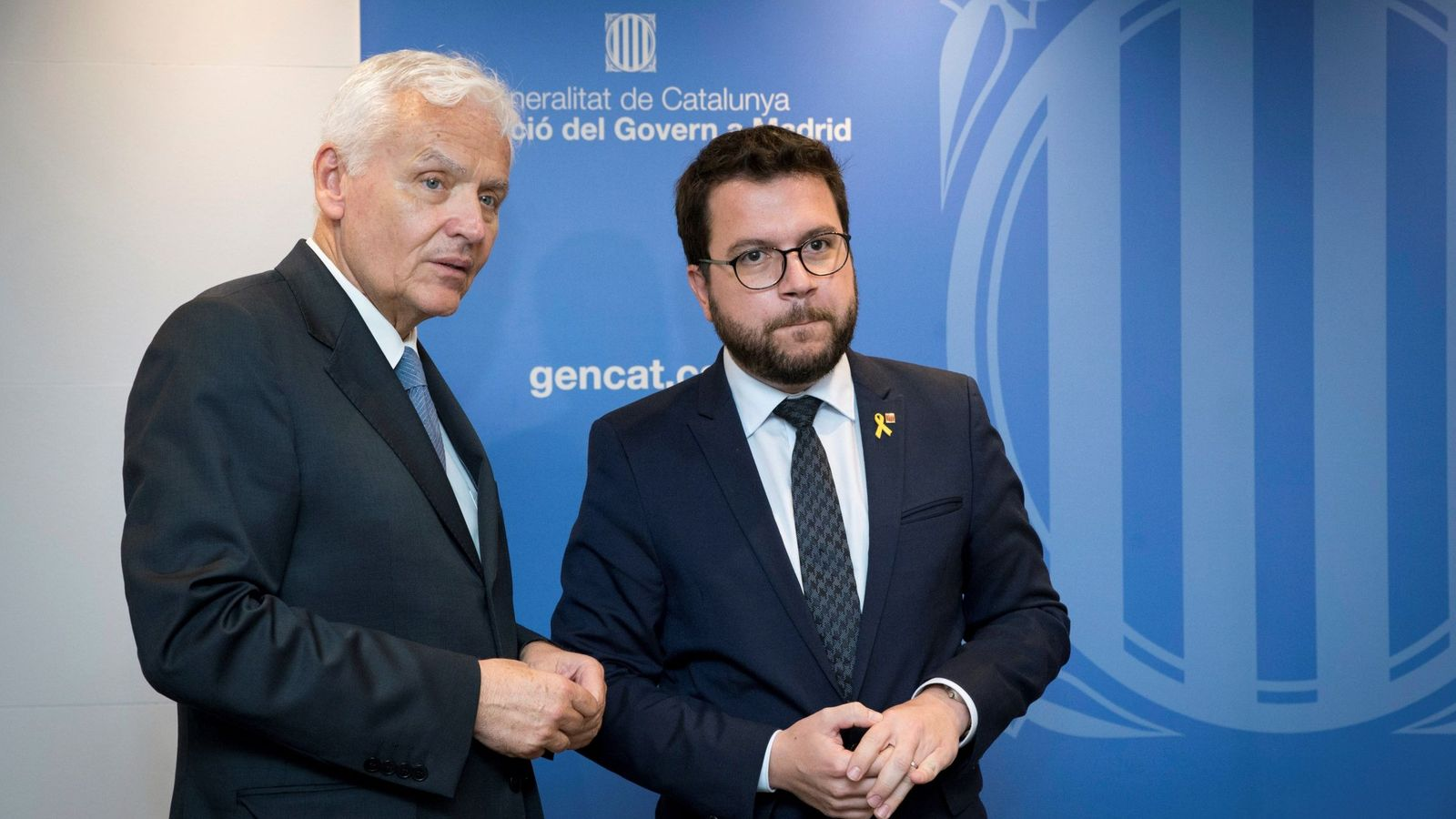 Foto: Ferrán Mascarell, a la izquierda, junto a Pere Aragonès. (EFE)