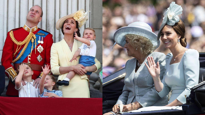 Kate Middleton, en la ceremonia del Trooping the Colour de 2019 y 2018. (Reuters / EFE)