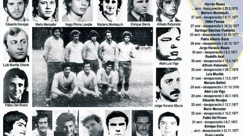 Imagen de desaparecidos del La Plata R.C. durante la dictadura argentina.