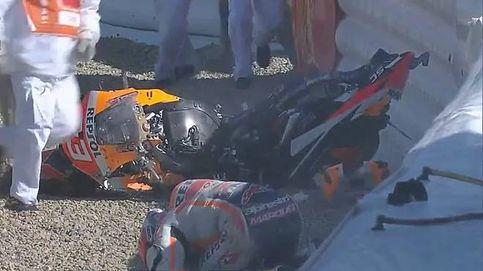 Dura caída de Marc Márquez en los entrenamientos de Jerez