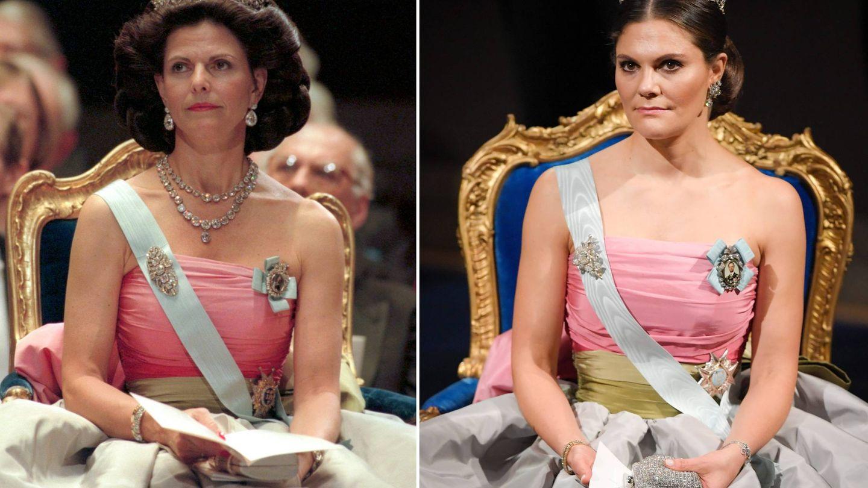 Silvia y Victoria de Suecia con el mismo vestido en 1993 y 1998. (Cordon Press)