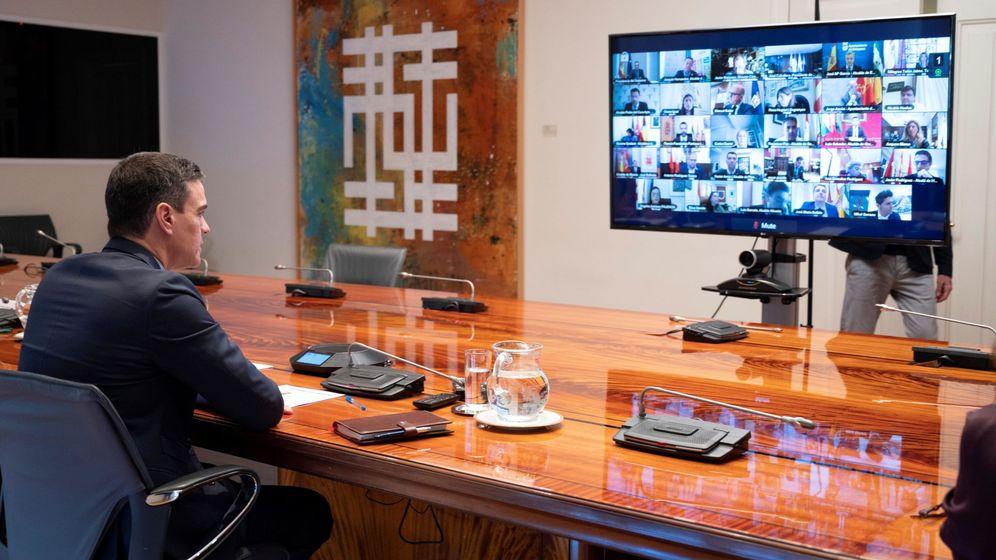 Foto: El presidente del Gobierno, Pedro Sánchez, durante una videoconferencia. (EFE)