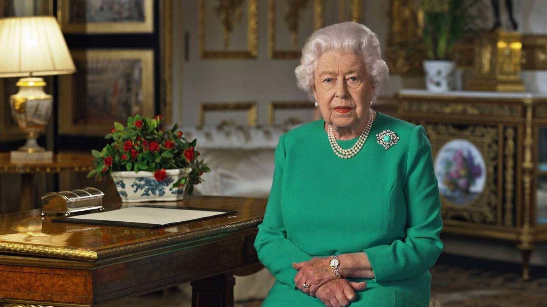 Isabel II de Inglaterra, durante la grabación del mensaje en Buckingham Palace. (Buckingham Palace / AFP)